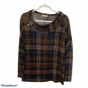 3/$20 XL Ava James plaid cowl neck sweater top